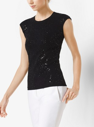 Michael Kors Sequined Cap-Sleeve Pullover