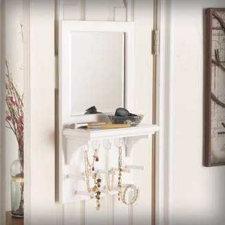 Southern Enterprises Terri Over-the Door Jewelry Mirror/Anywhere Storage, White