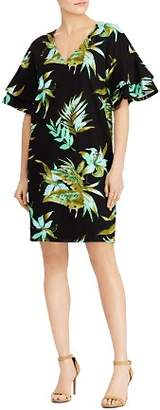 Ralph Lauren Ponte Tropical-Print Flutter-Sleeve Shift Dress
