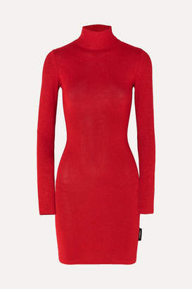 Vetements Metallic Stretch-knit Turtleneck Mini Dress - Red