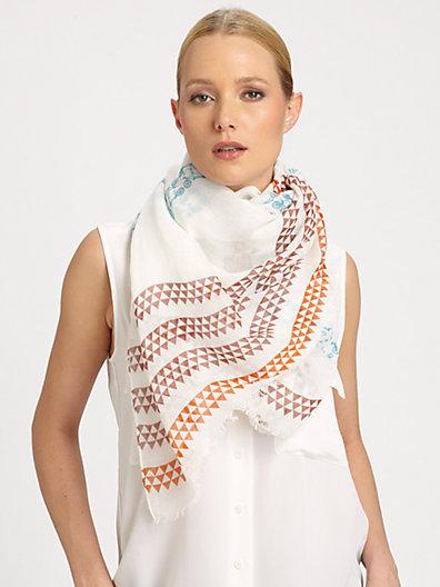 Yarnz Pattern-Striped Cotton & Linen Scarf