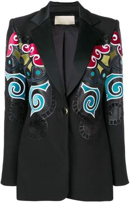 Elie Saab multicoloured print blazer