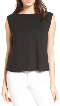 Women's Eileen Fisher Boxy Organic Linen Shell $98 thestylecure.com