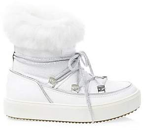 Chiara Ferragni Women's Glitter Leather Rabbit Fur-Lined Snow Boots