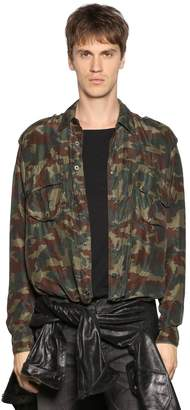 Faith Connexion Camouflage Silk Satin Shirt