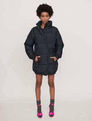 Maje Long hooded puffer coat