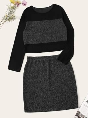 Shein Plus Mesh Insert Cut-and-sew Top & Skirt Set