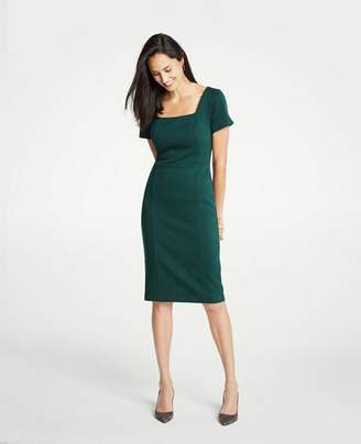 Ann Taylor Plaid Square Neck Sheath Dress
