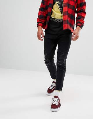 Pull&Bear Carrot Fit Cropped Jeans With Zip Hems In Black