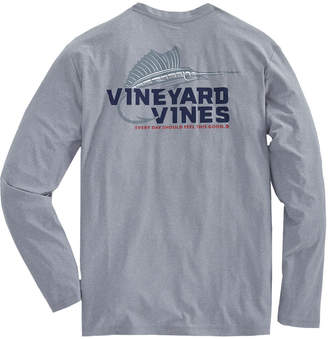 Vineyard Vines Long-Sleeve Performance Cationic Marlin Hook T-Shirt