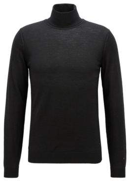 BOSS Hugo Turtleneck sweater in extra-fine Italian merino wool L Black