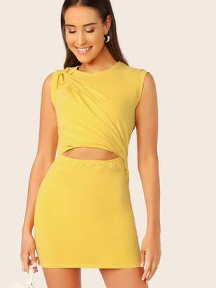 Shein Twist Detail Cutout Midriff Dress