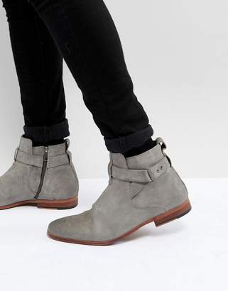 Asos Chelsea Boots In Gray Suede With Strap Detail