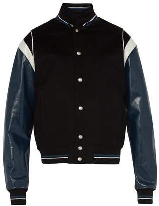 Givenchy 4g Logo Wool Blend Varsity Jacket - Mens - Black Blue