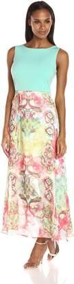 Sandra Darren Women's Sleeveless ITY and Chiffon Maxi Dress