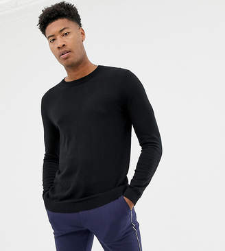 Asos DESIGN Tall cotton sweater in black