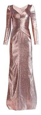 Theia Ruched Metallic Lame Gown