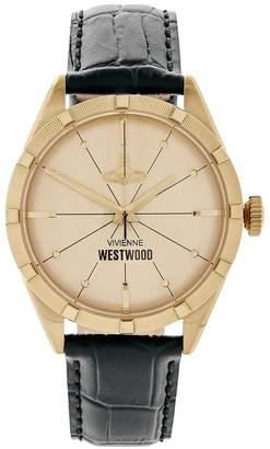 Vivienne Westwood Men's Conduit Leather Croc Strap Watch-Gold/Black