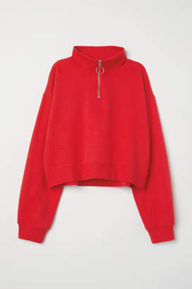 H&M Stand-up Collar Sweatshirt - Red