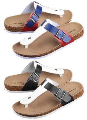 OUTAD Women Buckle T Strap Sandal Footbed Sandals Flat Platform Flip Flops Shoes