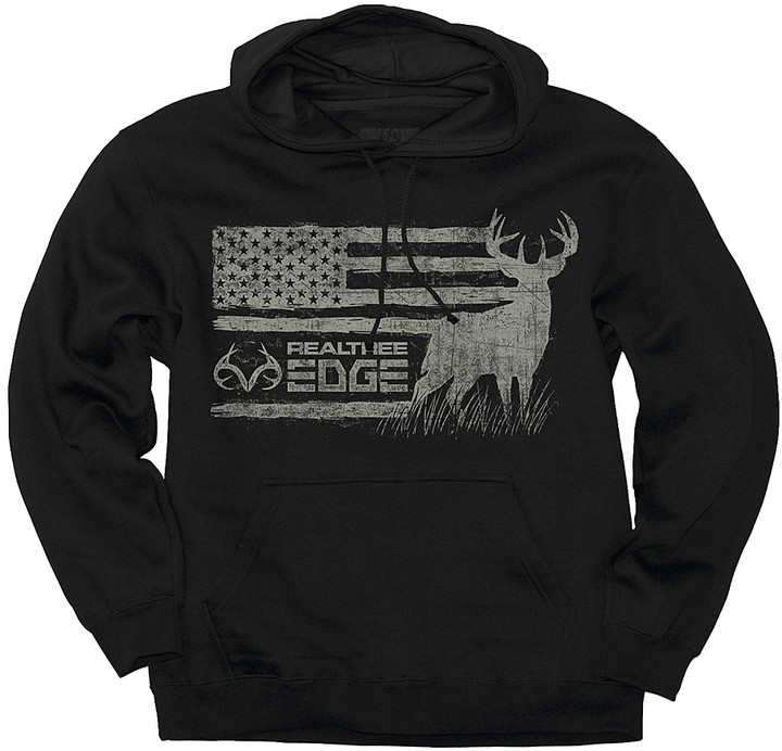 Black 'Realtree Edge' Buck Flag Hoodie - Men