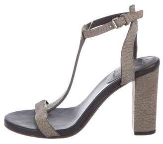 Brunello Cucinelli Sueded Embellished T-Strap Sandals