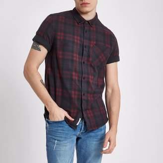 River Island Mens Dark Red check short sleeve slim fit shirt