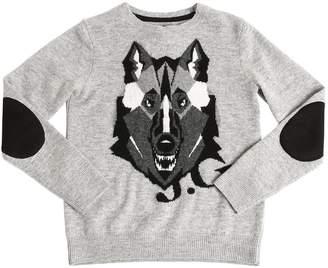 John Galliano Wolf Intarsia Wool Knit Sweater
