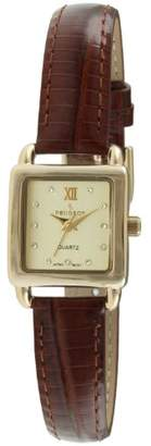 Peugeot Women's Quartz Gold-Tone and Leather Casual Watch