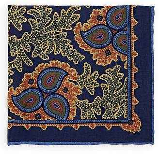 Bigi Men's Paisley Wool-Silk Pocket Square - Navy