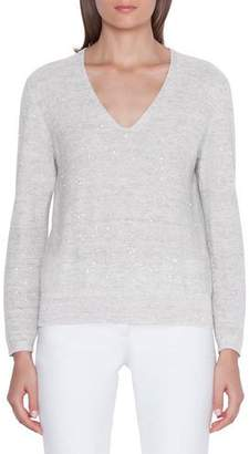 Akris Sequined Linen-Cotton V-Neck Sweater