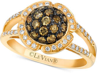 LeVian Le Vian Chocolatier Diamond Halo Cluster Ring (3/4 ct. t.w.) in 14k Gold