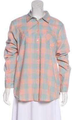 Maison Scotch Plaid Print Button-Up Top