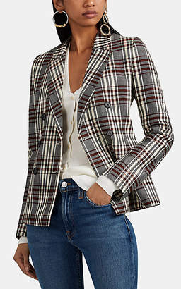 Barneys New York Women's Plaid Wool Double-Breasted Blazer - Red