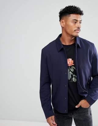 HUGO Jersey Shirt Jacket In Navy