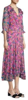 Saloni Edith Floral-Print A-Line Handkerchief Dress