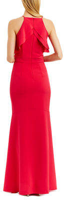 Nicole Miller New York Ruffle-Trim Cold-Shoulder Mermaid Gown