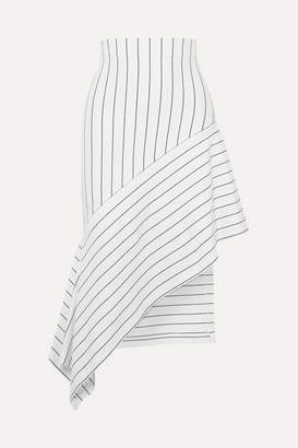Rosetta Getty Asymmetric Striped Stretch-jersey Midi Skirt - White