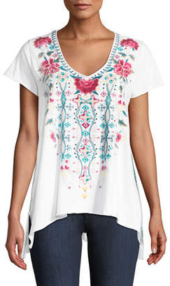 Johnny Was Peta Draped Knit Embroidered Short-Sleeve Top, Plus Size