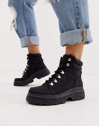 New Look chunky lace up flat boots in black