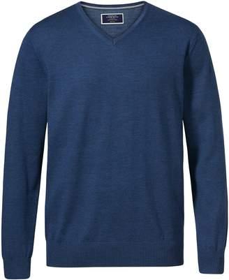 Charles Tyrwhitt Mid Blue Merino Wool V-Neck Sweater Size XXL