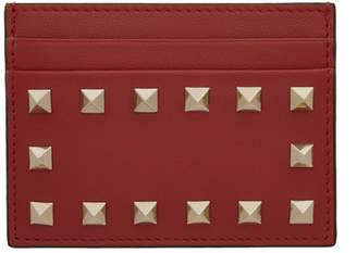 Valentino Red Garavani Leather Rockstud Card Holder