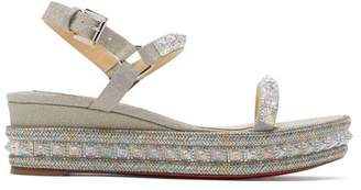 Christian Louboutin Pyradiams 60 Glitter Wedge Sandals - Womens - Silver
