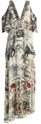 Camilla Cold-Shoulder Crystal-Embellished Printed Silk Crepe De Chine Maxi Dress