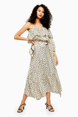 Topshop Womens Tall Cream Spot Tiered Midi Skirt - Monochrome