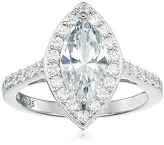 Swarovski Platinum Plated Sterling Zirconia Marquise Vintage Style Ring