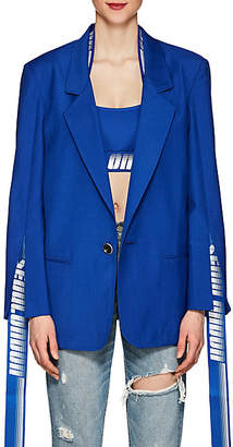 D-ANTIDOTE Women's Hanging-Tab Wool-Blend One-Button Blazer - Blue