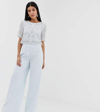 Amelia Rose Tall embellished wide leg jumpsuit in soft blue