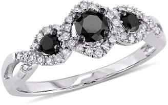 Black Diamond MODERN BRIDE Midnight 1/2 CT. T.W. White & Color-Enhanced 10K White Gold 3-Stone Ring
