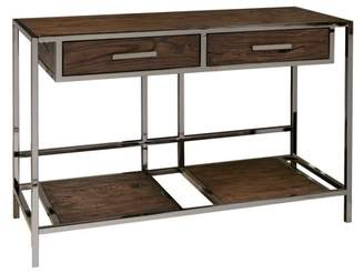 HomeFare Modern Industrial Style Chocolate Brown Wood and Smoked Metal Sofa Table